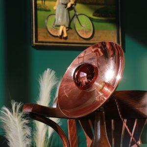Lampe parabole cuivre radiant