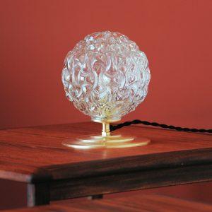 Lampe à poser - Globe boule en verre transparent texturé à motif relief