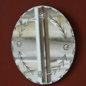 Miroir rond à motifs floraux